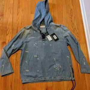 Saint Laurent Distressed Denim Pullover Hoodie
